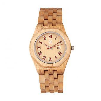 Earth Wood Baobab Bracelet Watch w/Date - Khaki/Tan
