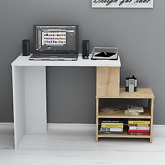 Sila Desk Color Blanco, Roble en Chip Melaminic, L120.5xP50xA75 cm