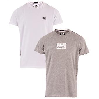 Mannen's Weekend Offender La Sante 2 Pack Logo T-shirts in het wit