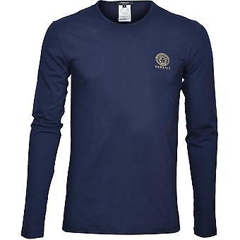 Versace Iconic Crew-Neck T-Shirt z długim rękawem, ciemnoniebieski