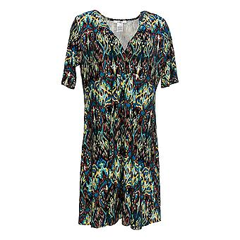 Masseys Women's Top V-Neck Gathered Tunic Teal Blue