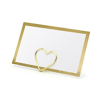 10 White Card Flat Wedding Place Cards with Gold Foil Border