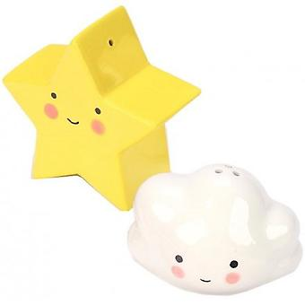 Kawaii Star And Cloud Ceramic Salt Shakers