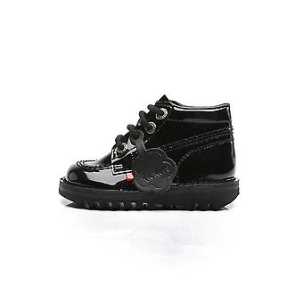 Kickers kickers kick hi klassinen vauva patentti musta kengät saappaat