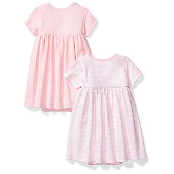 Moon and Back Baby Girls' Set of 2 Organic Short-Sleeve Dresses, Pink Blush, ...