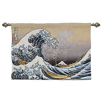 Hokusai - great wave off kanagawa wall hanging by signare tapestry / 100cm x 69cm / wh-jp-gwk