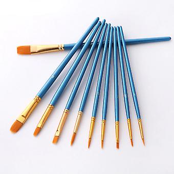 Different Shape Round Pointed Tip Nylon Hair Watercolor Gouache Paint Brushes