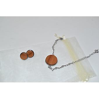 Wooden jewelry set wooden jewelry earrings stud earrings bracelet bracelet chain cherry earjewelry jewelry handmade bracelet unique gift stainless steel