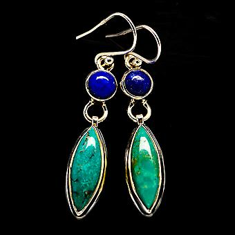 """Turkus tybetański, Kolczyki Lapis Lazuli 1 7/8"""" (925 Srebro) - Ręcznie robione Boho Vintage Biżuteria EARR405524"""