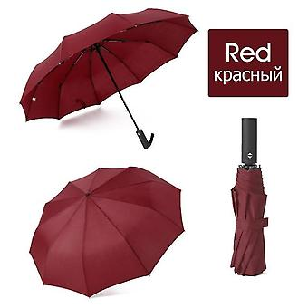 12k Strong Wind Resistant Folding Automatic Umbrella - Rain Parasol Big Umbrella With Ortable Long Handle