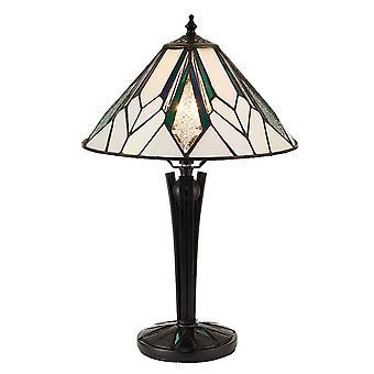 Interiores Astoria - 1 lámpara de mesa pequeña ligera negra, cristal estilo Tiffany, E14