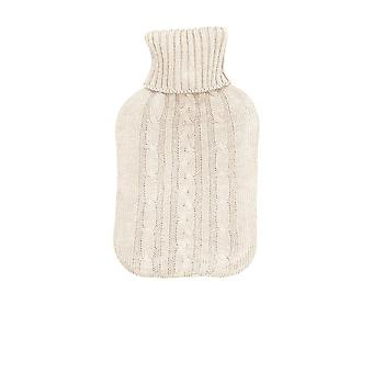 Full Size Hot Water Bottle With Knitted Cover - Cream