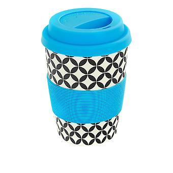 Rink Beba Bambu Copo de Café Reutilizável com Tampa de Silicone e Manga - 350ml - Diamante Retrô - Azul