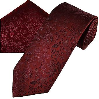 Krawatten Planet Gold Label Burgund selbst Blätter gemusterte Männer's Seide Krawatte & Tasche Quadrat Taschentuch Set