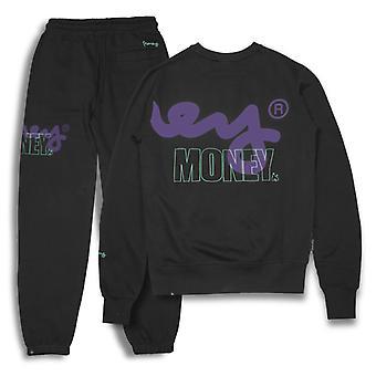 Money Stencil Logo Crew Neck Tracksuit Black 75
