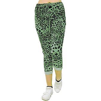 Leopard Magic Pants Stretchy Trousers   Khaki   Plus