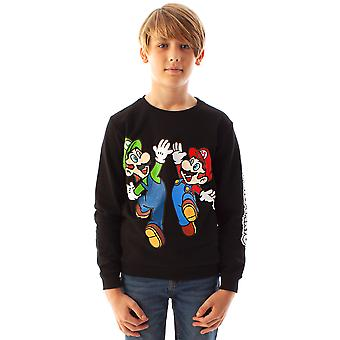 Super Mario Sweatshirt Boys | Enfants Luigi Character Black Long Sleeve Jumper | Marchandises de joueurs