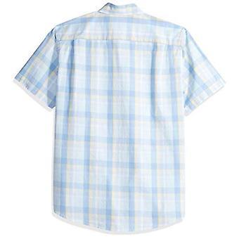 Essentials Men's Regular-Fit Short-Sleeve Plaid Casual Poplin Shirt, A...