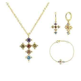 Sterling Silver Gold Rainbow Cross Zircon, Cz Hoops Pendiente Piercing Ohrringe