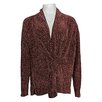 Anybody Women's Sweater Chenille Tie-Front Cardigan Pink A372139