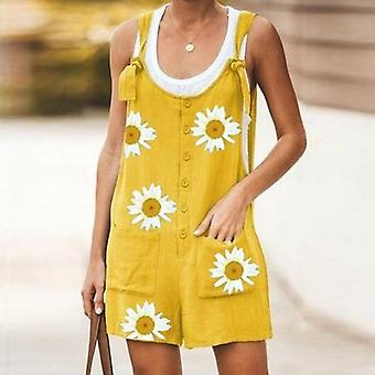 Combinaison Daisy Print Femmes Summer V-neck Button Cotton Linen Playsuit
