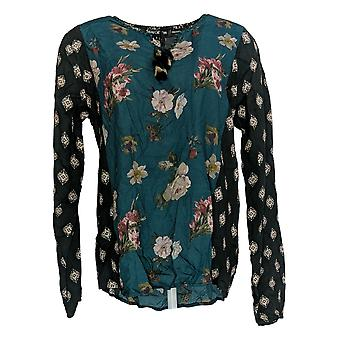 Tolani Women's Top Collection Mix Printed Top w/ Tassels Blue A354819