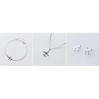 Sweet Cute Mini Plane Literary 925 Sterling Silver Resizable Bracelets For