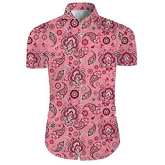 Mens 2 Pieces 3d Floral Print Casual Button Down Short Sleeve Hawaiian Shirt And Shorts Set In Pink