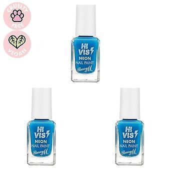 Barry M 3 X Barry M Hi Vis Neon Nail Paint - Blue Shock