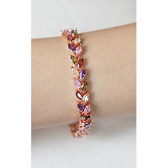 Ruusukulta monivärinen kristallilehti tennis rannekoru