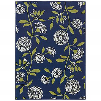 3' x 5' Indigo and Lime Green Floral Indoor or Outdoor Area Rug