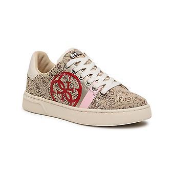 Shoes Women's Sneaker Guess Reata 4g Logo In Beige Fabric Ds21gu26 Fl5rt2fal12