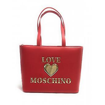 תיק אישה אהבה Moschino קניות עור אדום מזויף עם כיס קדמי B21mo79