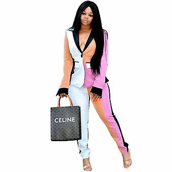 Patchwork límec sako kabát vysoký pas kalhoty dvoudílná sada
