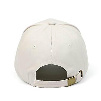 White Beige Cotton Baseball Cap