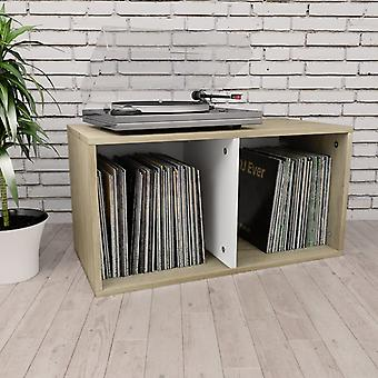 vidaXL boîte de rangement de disques blanc Sonoma Chêne 71×34×36 cm