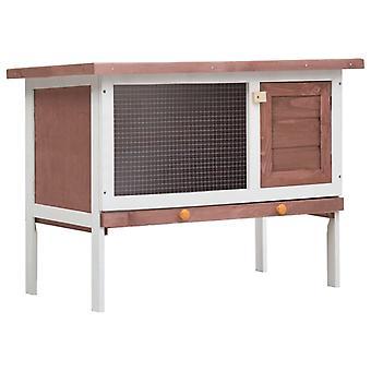vidaXL أرنب مستقر 1 مستوى الخشب البني