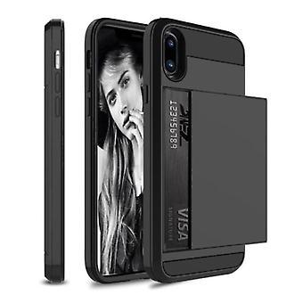 VRSDES iPhone 7 - Funda de portada de la ranura de la tarjeta wallet negro