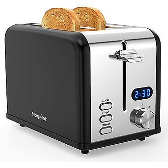 Wokex Toaster 2 Scheiben Edelstahl Toaster mit Brötchenaufsatz, LED Anzeige, Breite Schlitze, 6