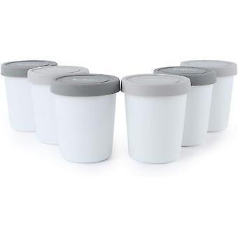 FengChun Eisbehälter für Speiseeis 180ml - 6er-Set mit Deckeln aus Silikon, Behälter Hausgemachte