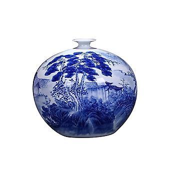 الصينية اليد رسمت الأزرق والأبيض مزهرية الخزف