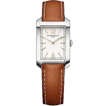 Baume & Mercier M0a10472 Hampton Rectangular Silver & Brown Leather Ladies Watch