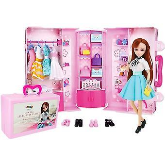 Domček pre bábiky skladací do kufra – Skriňa s bábikou