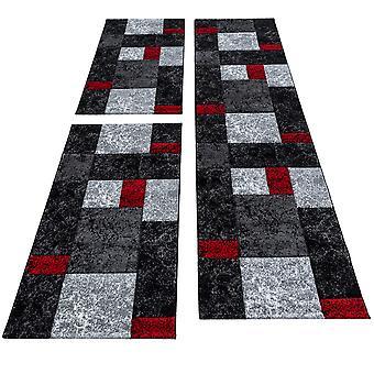 Seng kant runner tæppe Modern Designer runner sæt plaid mønster 3 dele Sort grå rød hvid