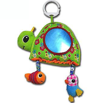 Turtle Rattle Toys With Bell Mirror Plush Baby Hanging Toys Colorful Rattling Doll For Infant Green