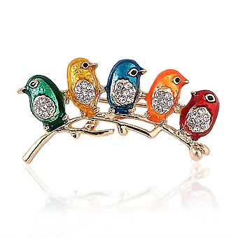 Corsage Five Birds On Branch Ladies Brooch Colorful Brooch Pin