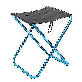 Portable Folding Chair Outdoor Aluminum Alloy Fishing Camping Picnic Travel Beach Stool(Blue)