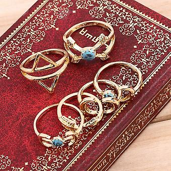 Boho Ethnic Gypsy Mexico Moon Sun Turquoise Jewelry Rings Retro Rings Pack