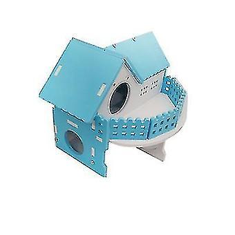 Hamster Golden Bear Luxury Double-storey Villa Large Ecological Board Wooden House(Blue)