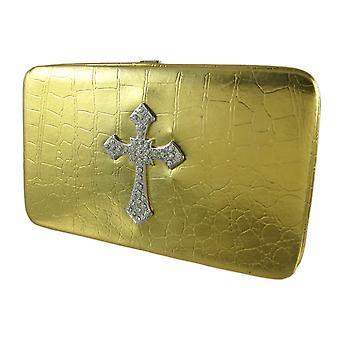 Metaliczne złoto Croc makiety Rhinestone krzyż portfel
